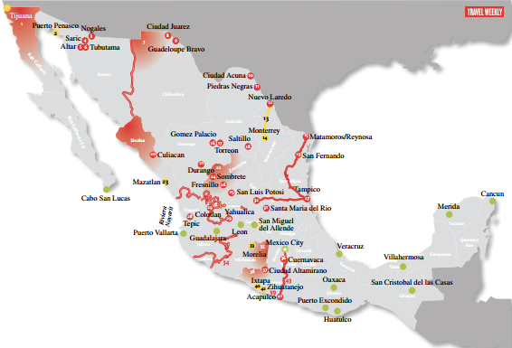 Map of Areas to Avoid while Traveling in Mexico