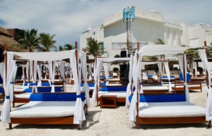Cancun beach daybeds